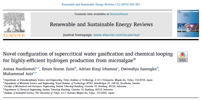 Microalgae to hydrogen employing supercritical gasification and chemical looping has been published in RSER (IF 9.17)