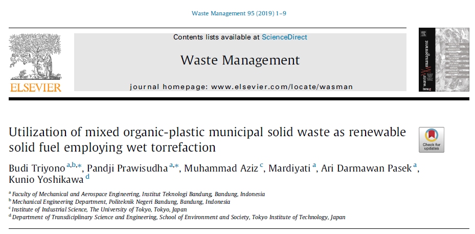 Municipal solid waste treatment through wet torrefaction was published in Waste Management