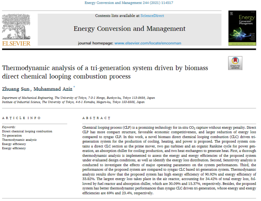 Thermodynamic analysis of a tri-generation system driven by biomass direct chemical looping combustion process